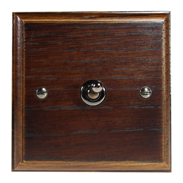 Wood 1 Gang Intermediate Toggle Switch in Solid Dark Oak