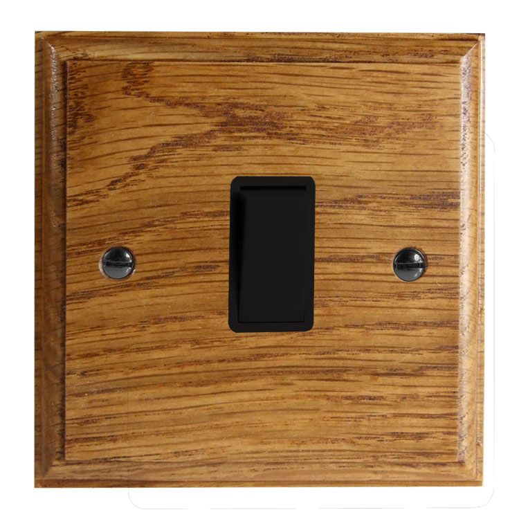 Wood 1 Gang 2Way 10Amp Rocker Switch in Solid Medium Oak