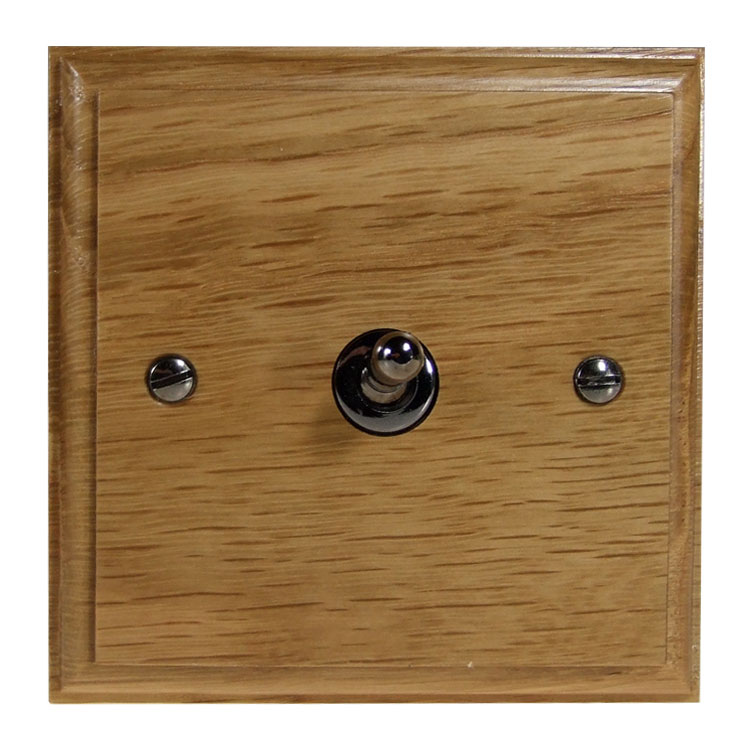 Wood 1 Gang 2Way 10Amp Toggle Switch in Solid Oak