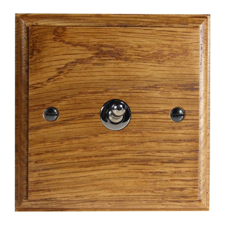 Wood 1 Gang Intermediate Toggle Switch in Solid Medium Oak