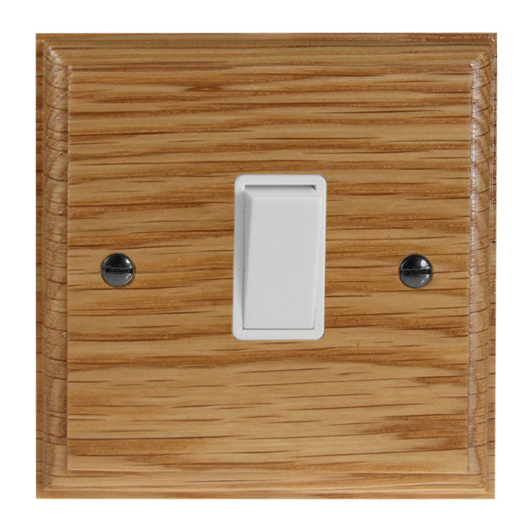 Wood 1 Gang Intermediate Rocker Switch in Solid Oak