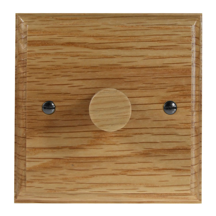 Wood 1 Gang 2Way Push on/Push off 400W/VA Dimmer Switch in Solid Oak