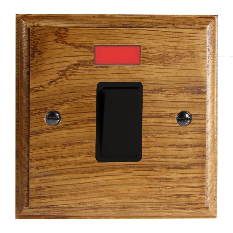 Wood 1 Gang Double Pole 20Amp Rocker Switch with Neon in Solid Medium Oak