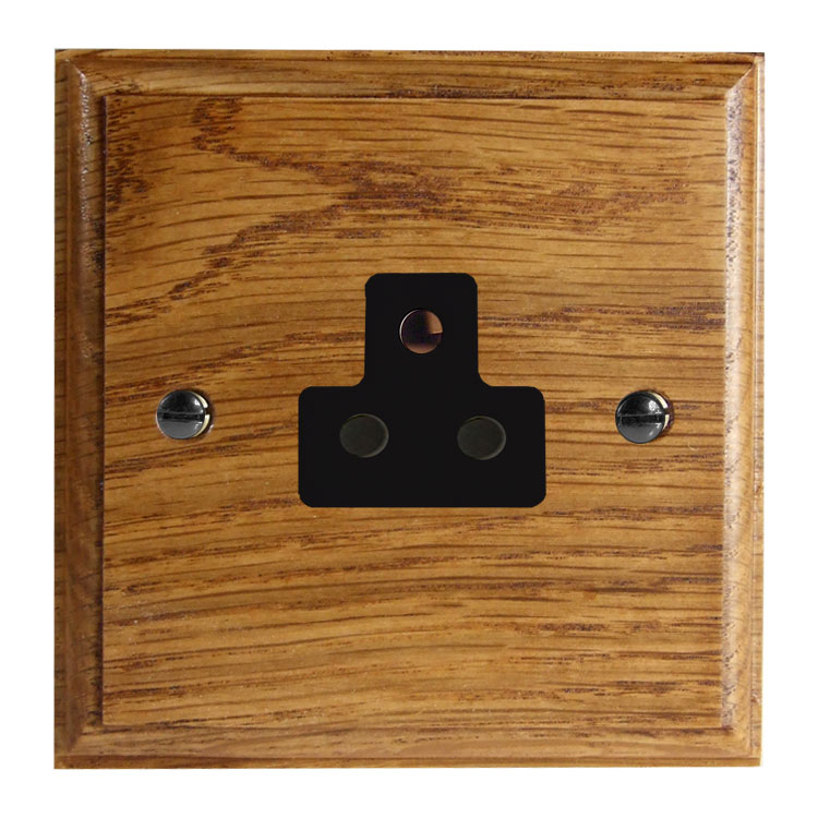 Classic 1Gang 2Amp Unswitched Socket in Solid Medium Oak