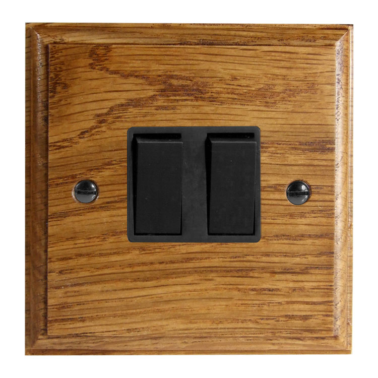 Wood 2 Gang 2Way 10Amp Rocker Switch in Solid Medium Oak