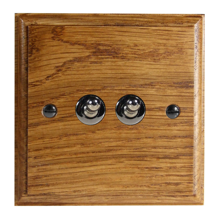 Wood 2 Gang 2Way 10Amp Toggle Switch in Solid Medium Oak