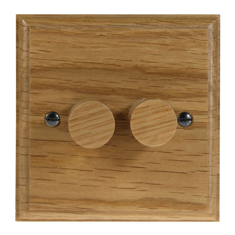 Wood 2 Gang 2Way Push on/Push off 2 x 250W/VA LED Dimmer in Solid Oak