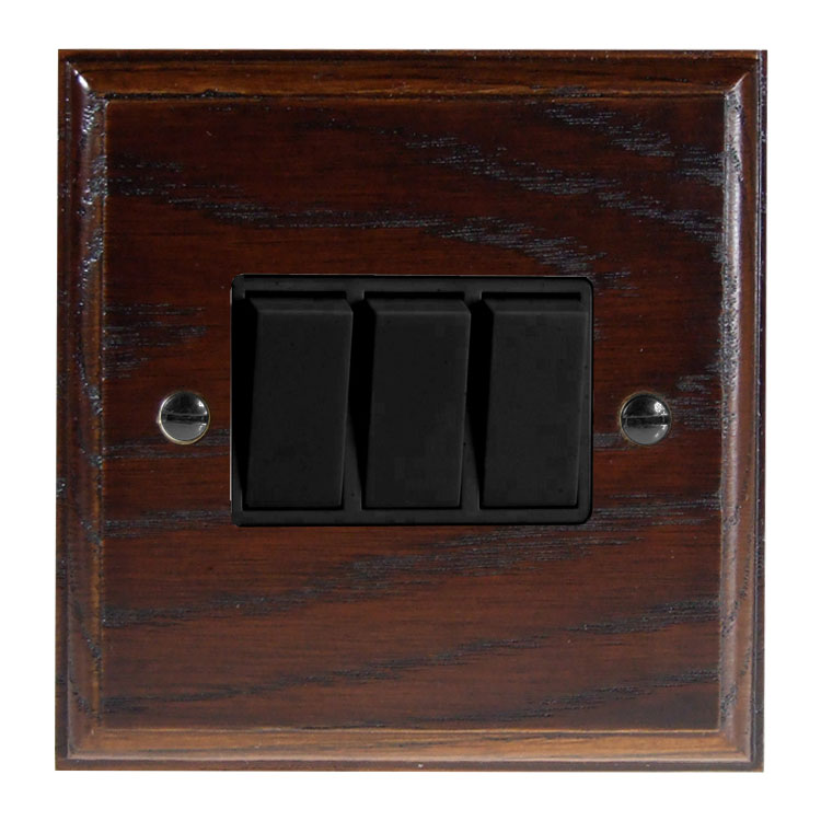 Wood 3 Gang 2Way 10Amp Rocker Switch in Solid Dark Oak
