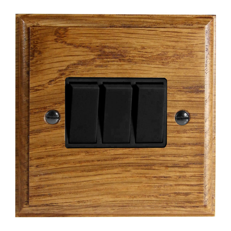 Wood 3 Gang 2Way 10Amp Rocker Switch in Solid Medium Oak