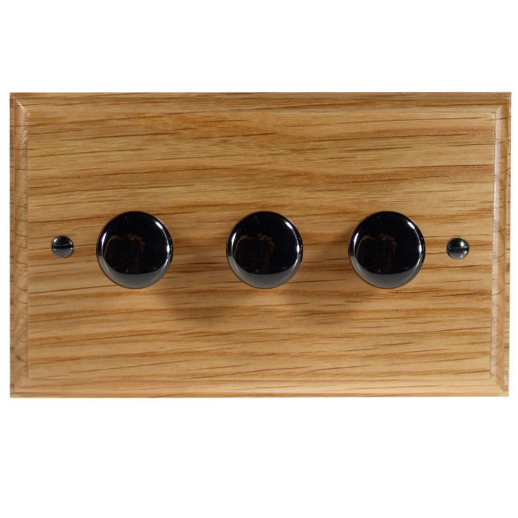 Wood 3 Gang 2Way Push on/Push off 3 x 250W/VA Dimmer Switch in Solid Oak with Black Nickel Dimmer Cap