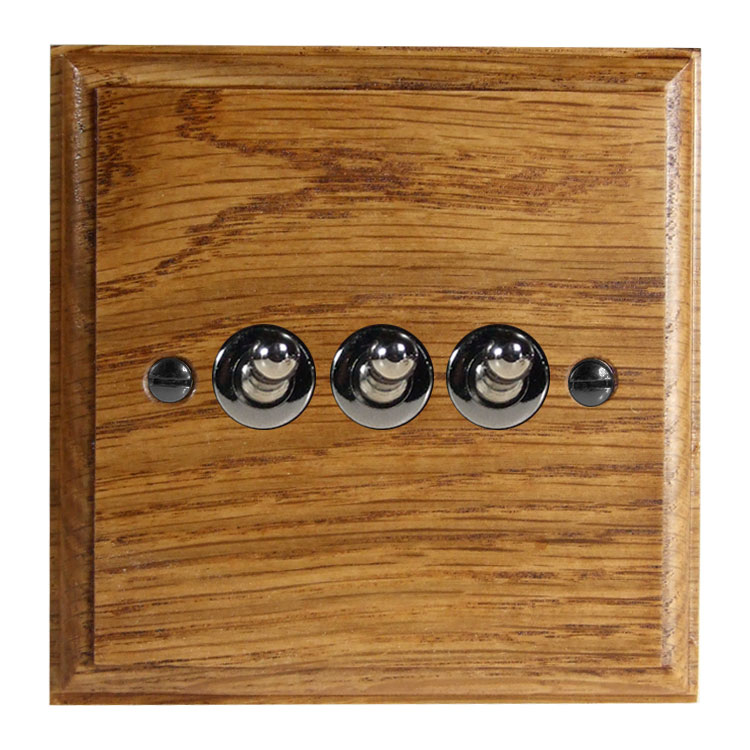 Wood 3 Gang 2Way 10Amp Toggle Switch in Solid Medium Oak