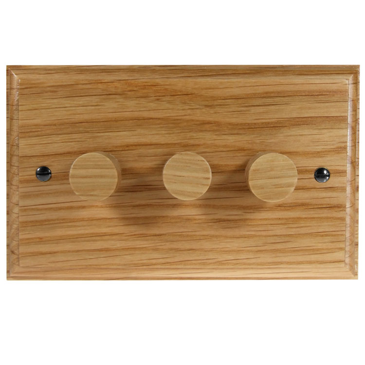 Wood 3 Gang 2Way Push on/Push off 3 x 250W/VA Dimmer Switch in Solid Oak
