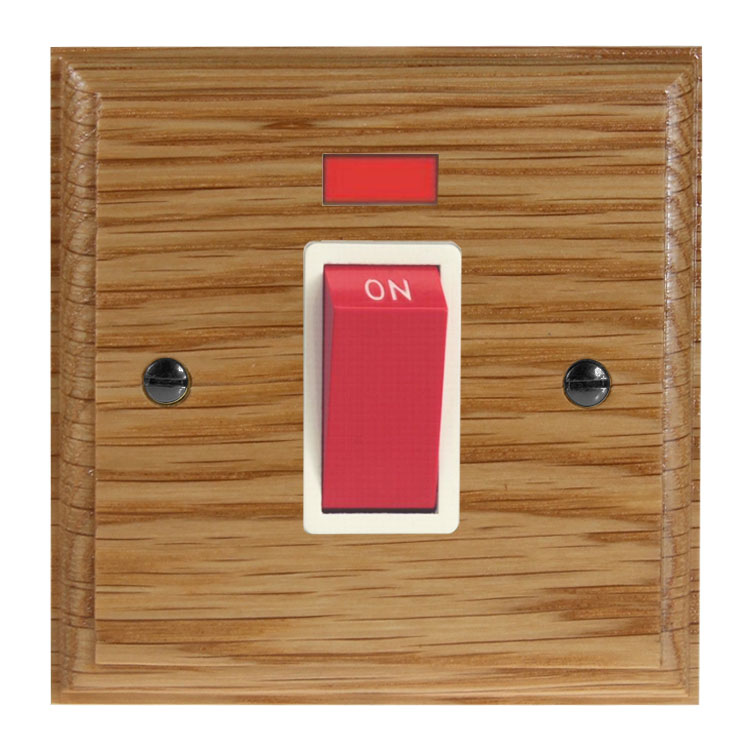 Classic 45Amp Double Pole Cooker Switch with Neon on a Single Square Plate in Solid Oak