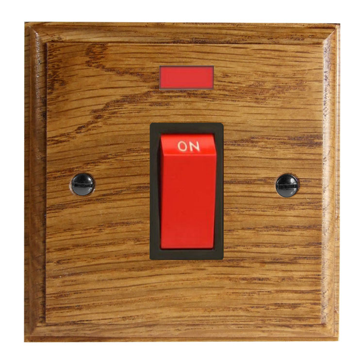 Classic 45Amp Double Pole Cooker Switch with Neon on a Single Square Plate in Solid Medium Oak