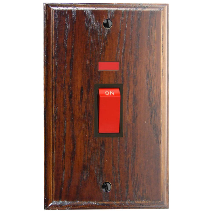 Classic 45Amp Double Pole Cooker Switch with Neon on a Vertical Twin Plate in Solid Dark Oak