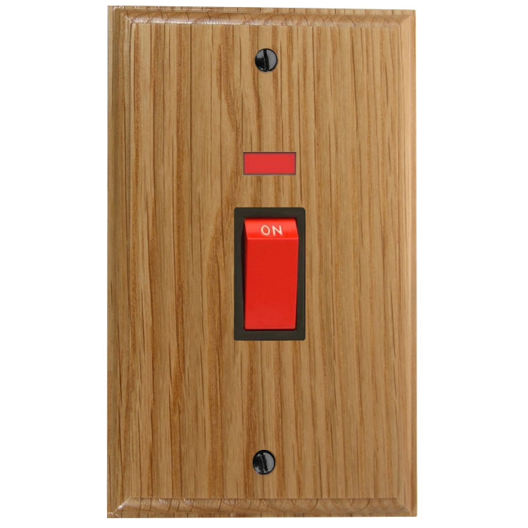 Classic 45Amp Double Pole Cooker Switch with Neon on a Vertical Twin Plate in Solid Oak