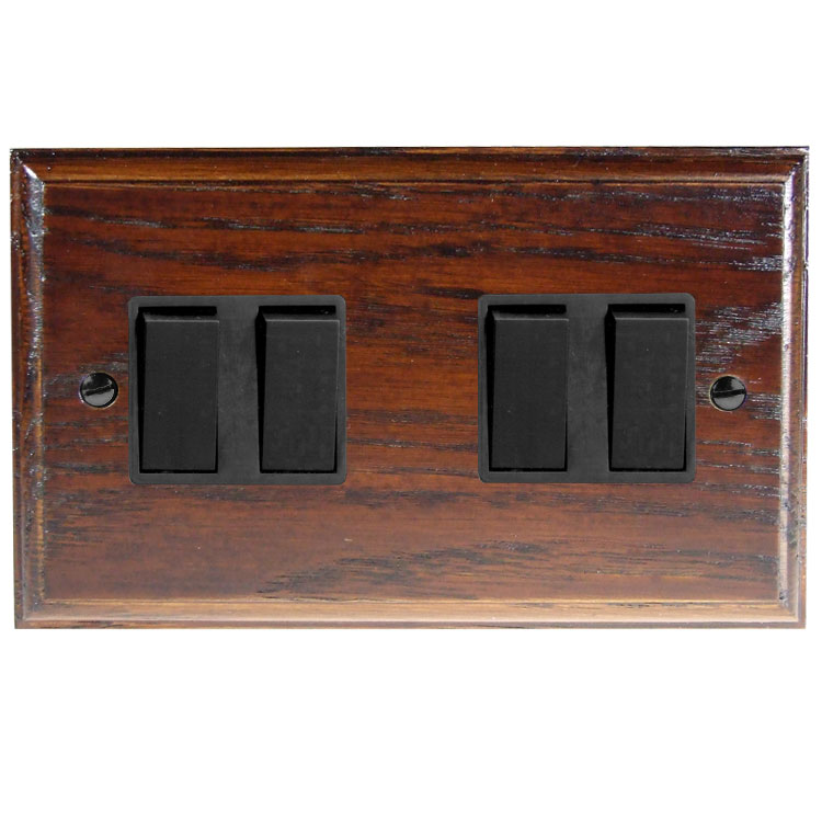 Wood 4 Gang 2Way 10Amp Rocker Switch in Solid Dark Oak