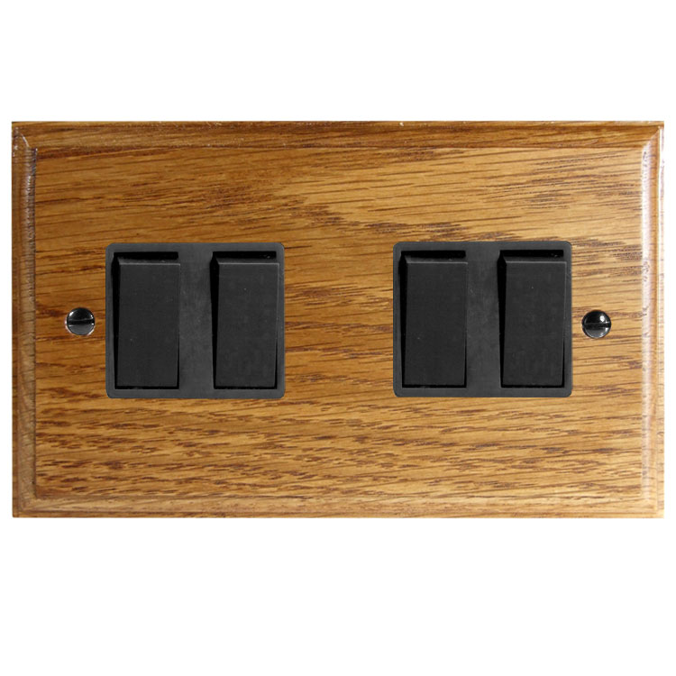 Wood 4 Gang 2Way 10Amp Rocker Switch in Solid Medium Oak