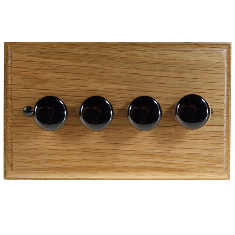 Wood 4 Gang 2Way Push on/Push off 4 x 250W/VA Dimmer Switch in Solid Oak with Black Nickel Dimmer Cap