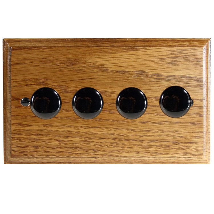 Wood 4 Gang 2Way Push on/Push off 4 x 250W/VA Dimmer Switch in Solid Medium Oak with Black Nickel Dimmer Cap