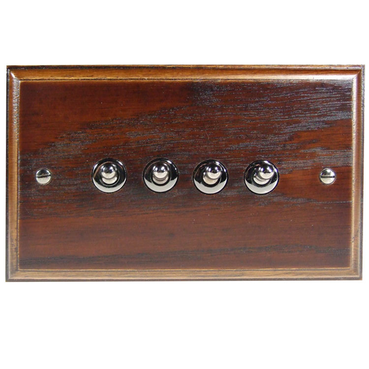 Wood 4 Gang 2Way 10Amp Toggle Switch in Solid Dark Oak
