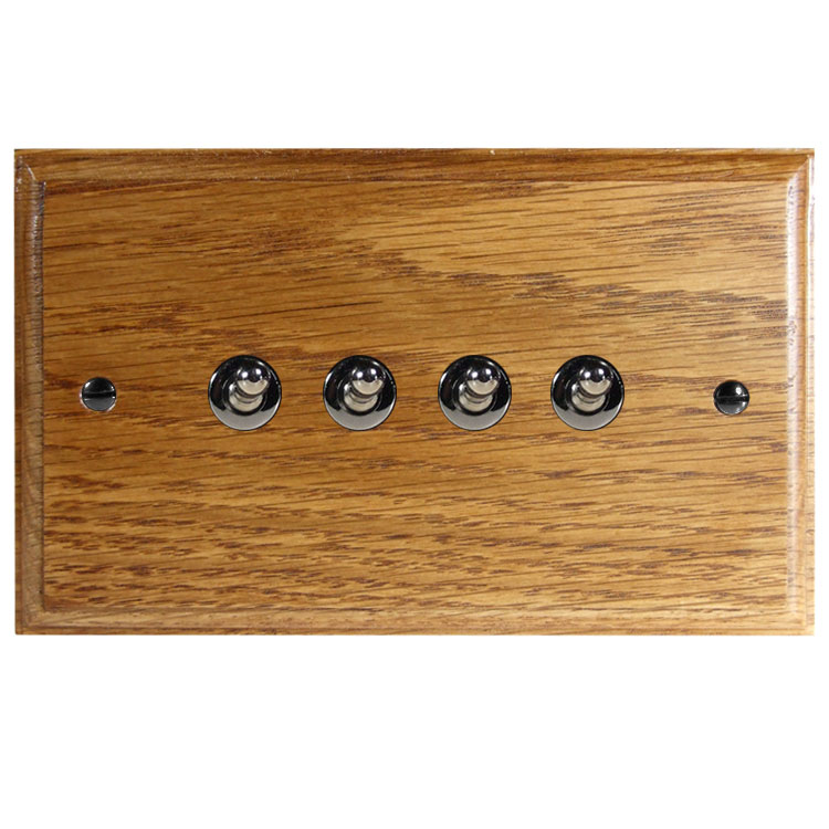 Wood 4 Gang 2Way 10Amp Toggle Switch in Solid Medium Oak