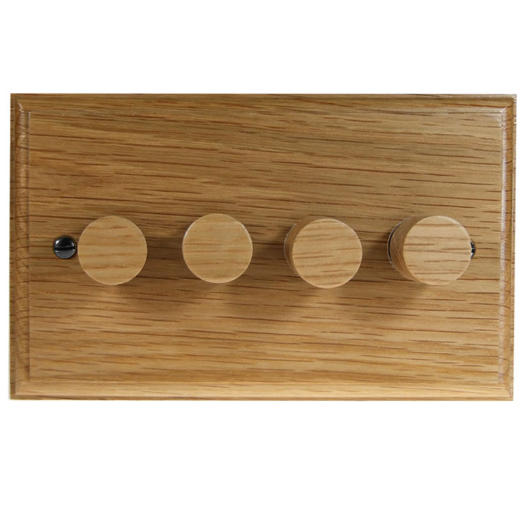 Wood 4 Gang 2Way Push on/Push off 4 x 250W/VA Dimmer Switch in Solid Oak