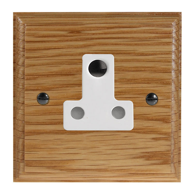 Classic 1Gang 5Amp Unswitched Socket in Solid Oak