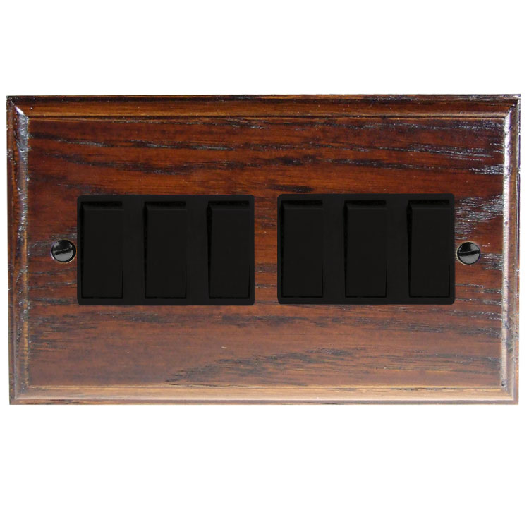 Wood 6 Gang 2Way 10Amp Rocker Switch in Solid Dark Oak