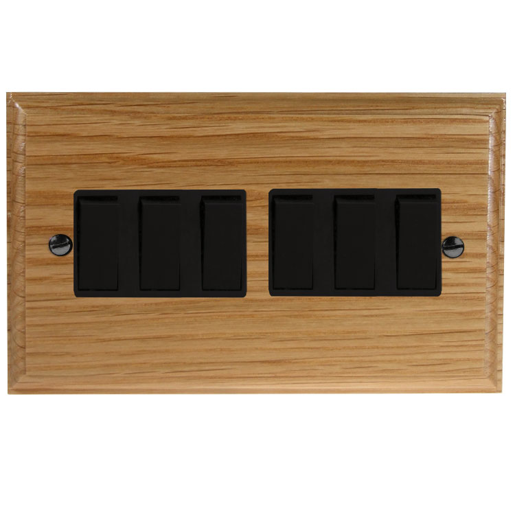 Wood 6 Gang 2Way 10Amp Rocker Switch in Solid Oak