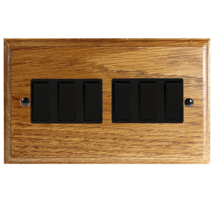Wood 6 Gang 2Way 10Amp Rocker Switch in Solid Medium Oak