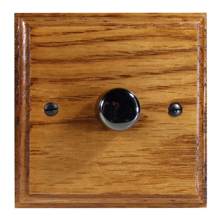 Wood 1 Gang 2Way Push on/Push off 400W/VA LED Dimmer in Solid Medium Oak with Black Nickel Dimmer Cap