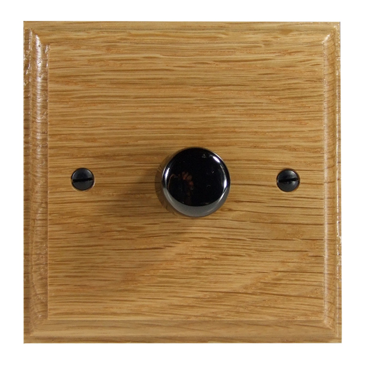 Wood 1 Gang 2Way Push on/Push off 400W/VA LED Dimmer in Solid Oak with Black Nickel Dimmer Cap