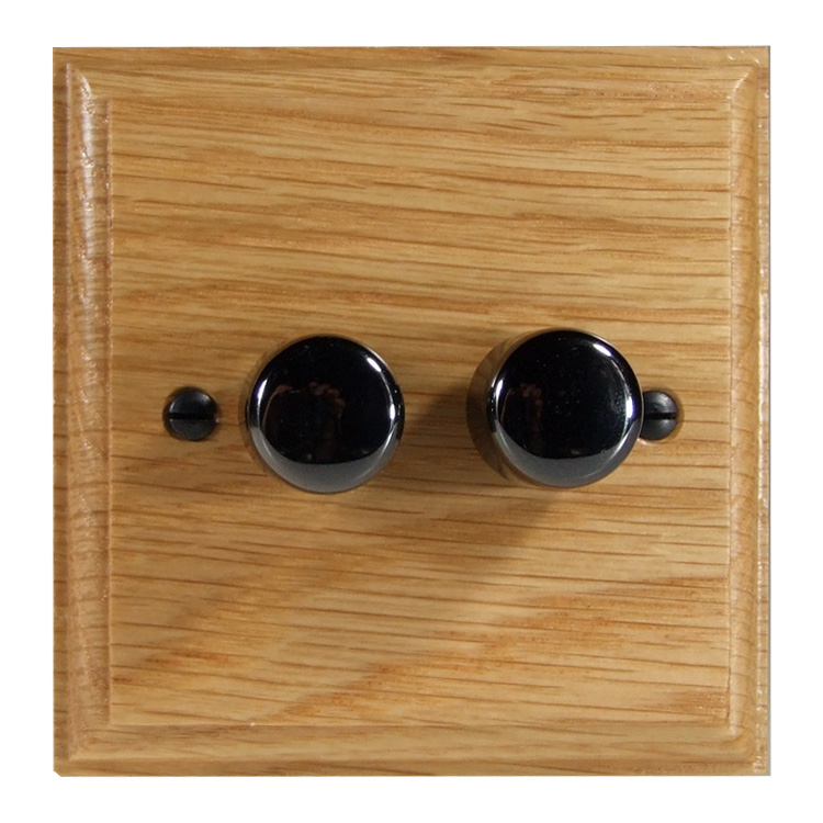Wood 2 Gang 2Way Push on/Push off 2 x 250W/VA LED Dimmer in Solid Oak with Black Nickel Dimmer Cap