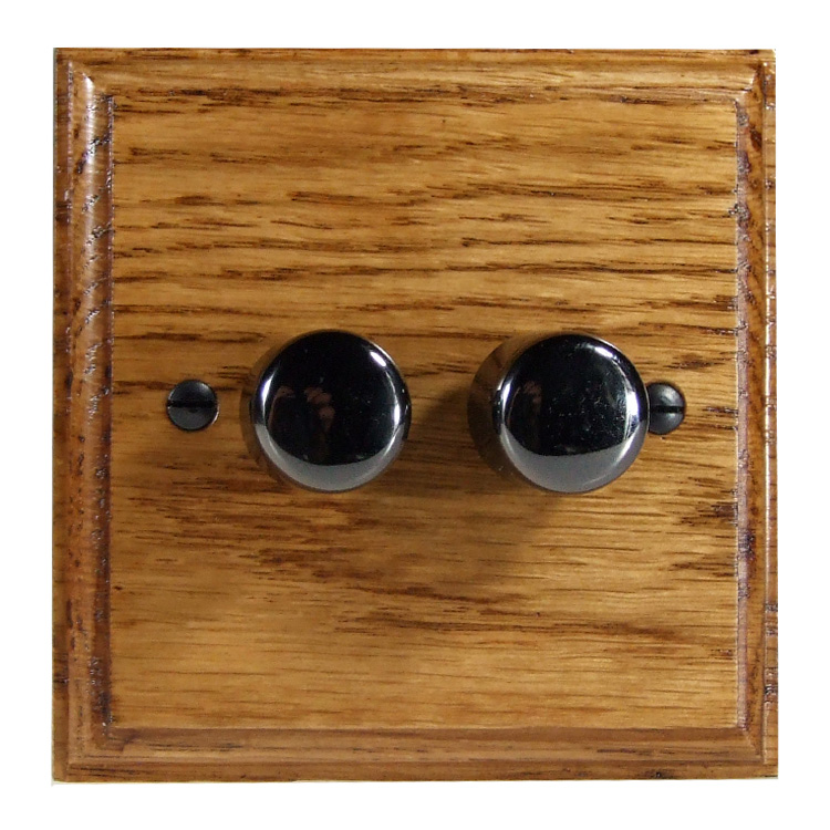 Wood 2 Gang 2Way Push on/Push off 2 x 250W/VA LED Dimmer in Solid Medium Oak with Black Nickel Dimmer Cap