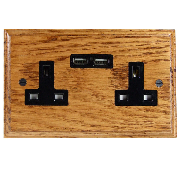 USB Charging Double Socket In Medium Oak With Black Trim