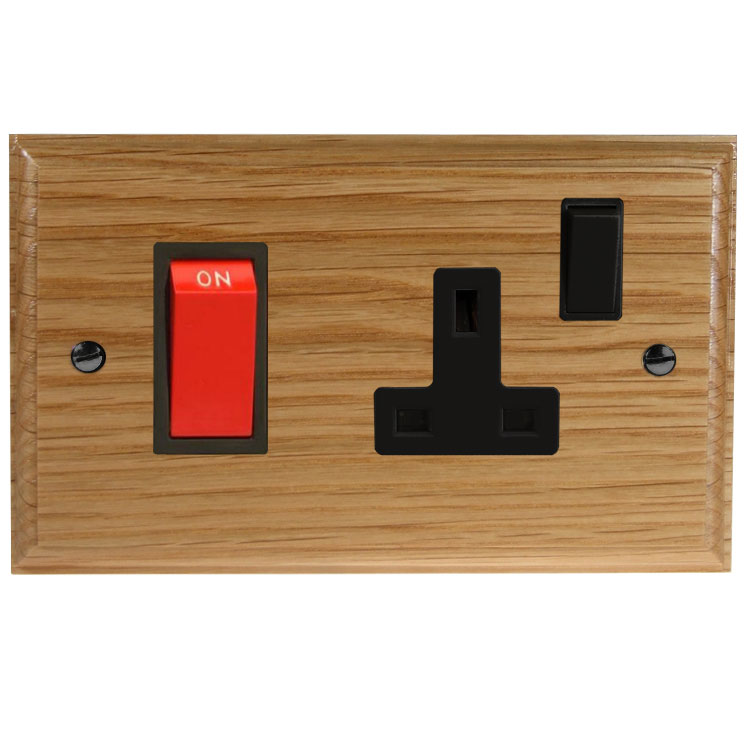 Wood 45Amp Double Pole Cooker Switch with 13Amp Switched Socket in Solid Oak