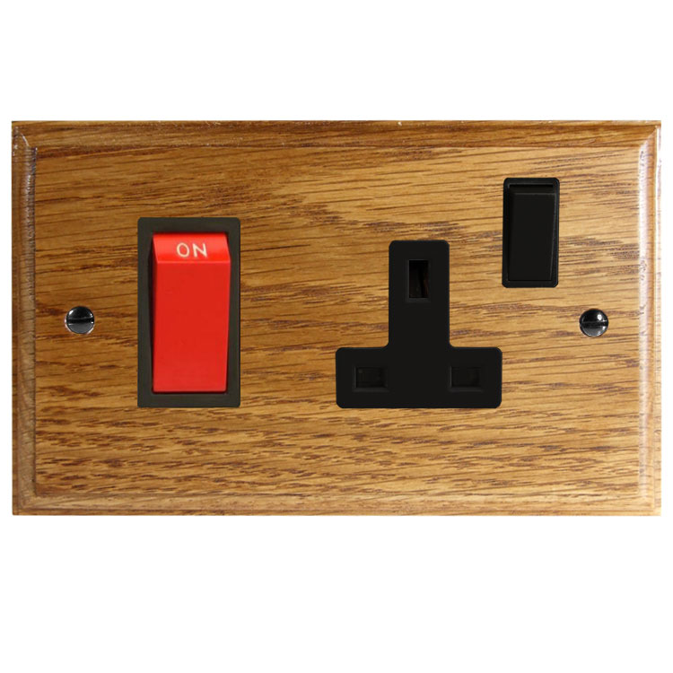Wood 45Amp Double Pole Cooker Switch with 13Amp Switched Socket in Solid Medium Oak