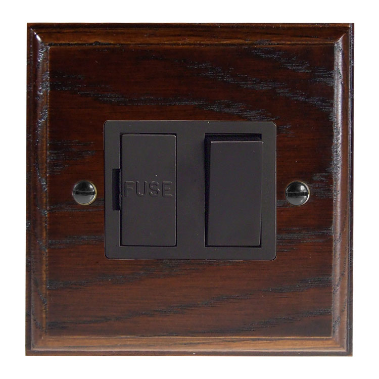 Wood 1 Gang 13Amp Switch Fuse Spur in Solid Dark Oak