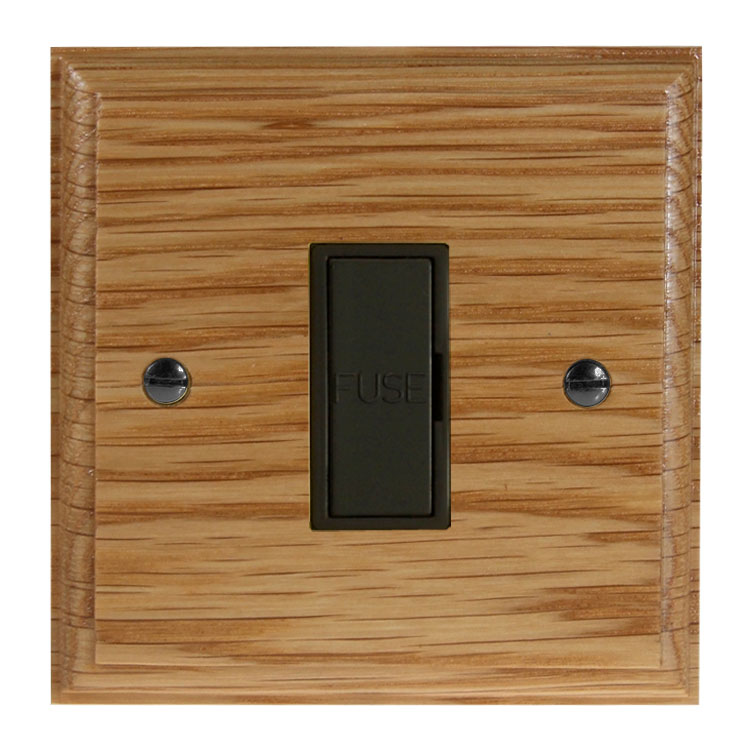 Wood 1 Gang 13Amp Unswitched Fuse Spur in Solid Oak