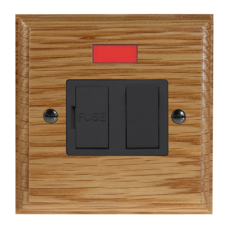 Wood 1 Gang 13Amp Switch Fuse Spur with Neon in Solid Oak