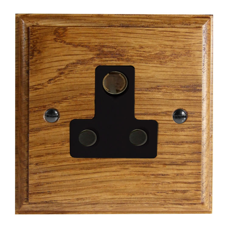 Classic 1Gang 5Amp Unswitched Socket in Solid Medium Oak