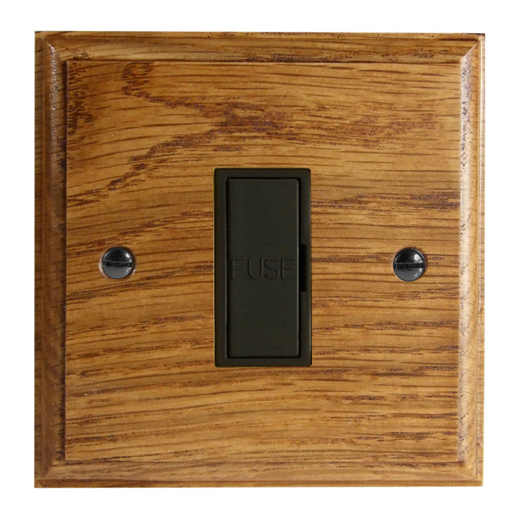 Wood 1 Gang 13Amp Unswitched Fuse Spur in Solid Medium Oak
