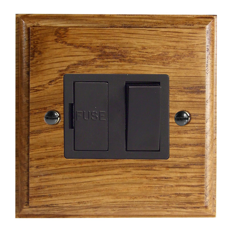 Wood 1 Gang 13Amp Switch Fuse Spur in Solid Medium Oak