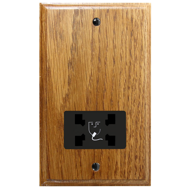Classic 110/240 Dual Voltage Shaver Socket in Solid Medium Oak