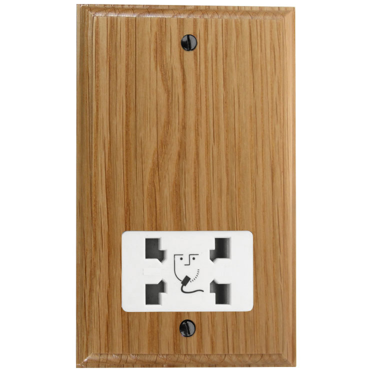 Classic 110/240 Dual Voltage Shaver Socket in Solid Oak