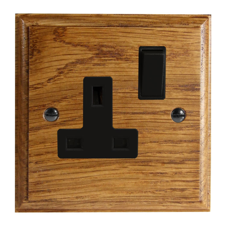Wood 1 Gang 13Amp Switched Socket in Solid Medium Oak