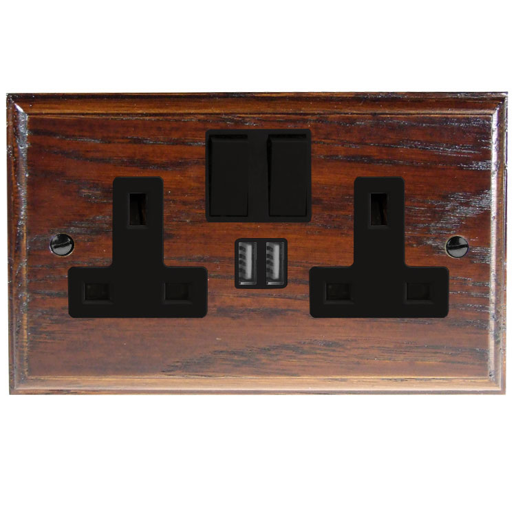 Switched USB Charging Double Socket In Light Dark Oak With Black Trim