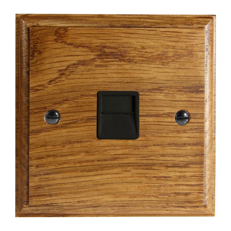 Classic 1Gang Telephone Secondary Socket in Solid Medium Oak