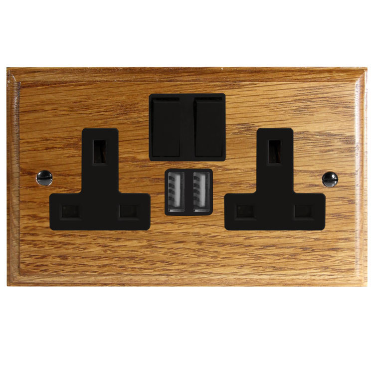 Switched USB Charging Double Socket In Light Medium Oak With Black Trim